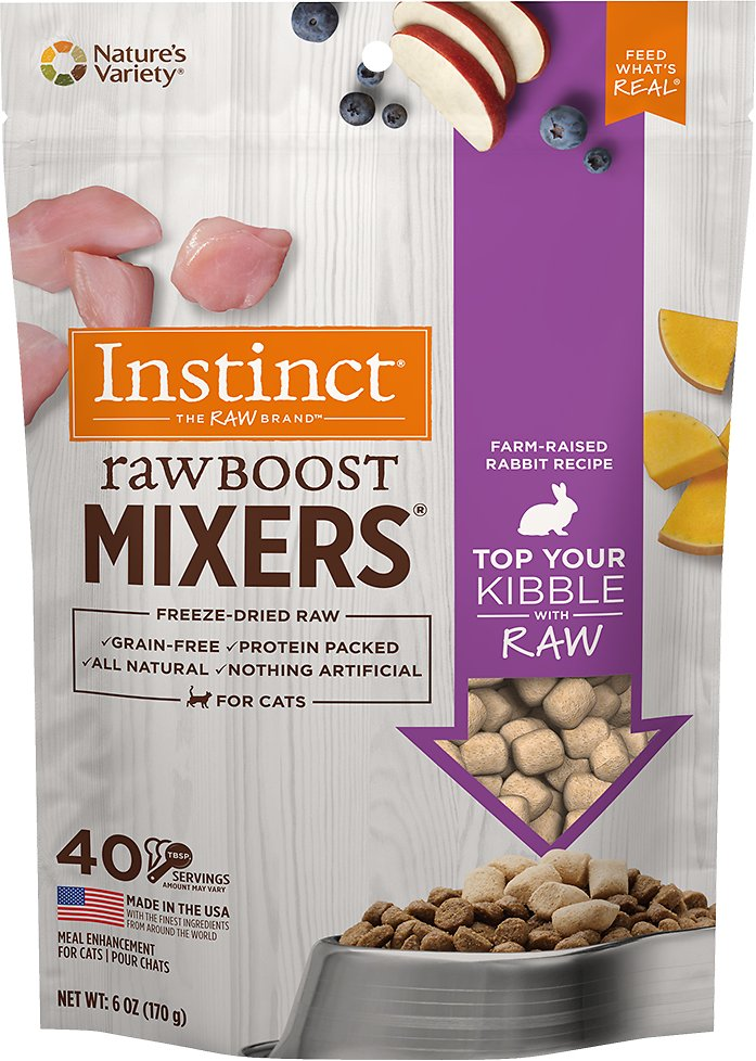 Instinct by Nature's Variety Raw Boost Mixers Rabbit Recipe Freeze-Dried Cat Food Topper, 6-oz bag