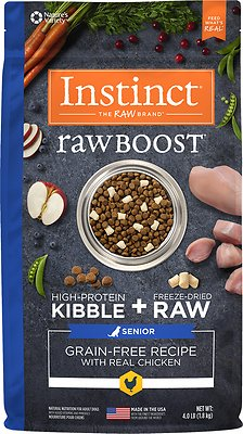Instinct by Nature's Variety Raw Boost Senior Grain-Free Recipe with Real Chicken Dry Dog Food, 4-lb bag