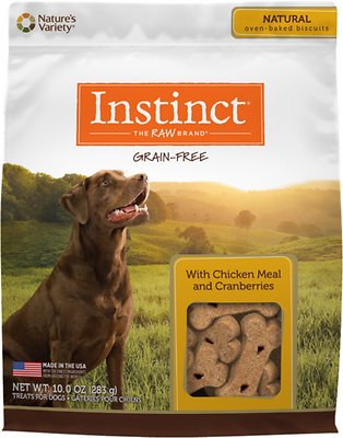 Instinct by Nature's Variety Grain Free with Chicken Meal & Cranberries Oven-Baked Biscuit Dog Treats, 10-oz bag