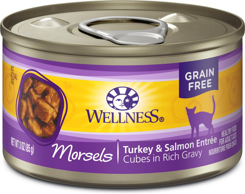 Wellness Cubed Turkey & Salmon Entree Grain-Free Canned Cat Food, 3-oz