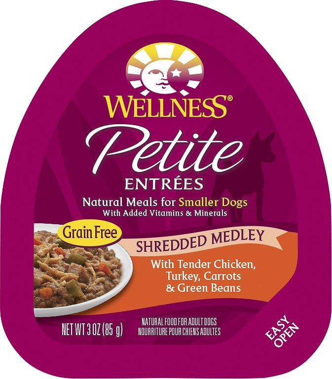 Wellness Petite Entrees Shredded Medley with Tender Chicken, Turkey, Carrots & Green Beans Grain-Free Wet Dog Food, 3-oz