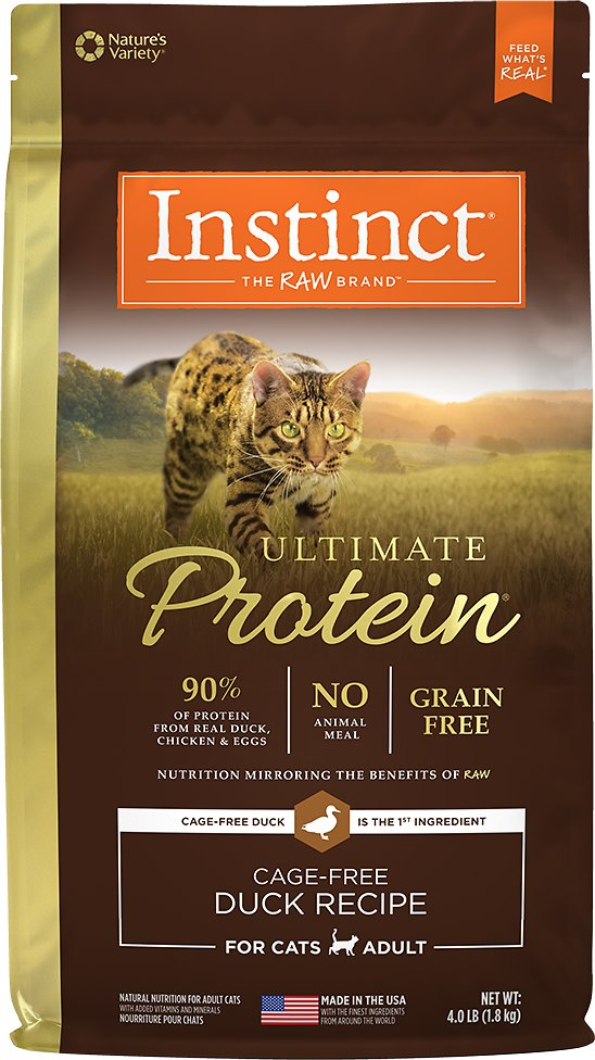 Instinct by Nature's Variety Ultimate Protein Grain-Free Cage-Free Duck Recipe Dry Cat Food, 4-lb bag