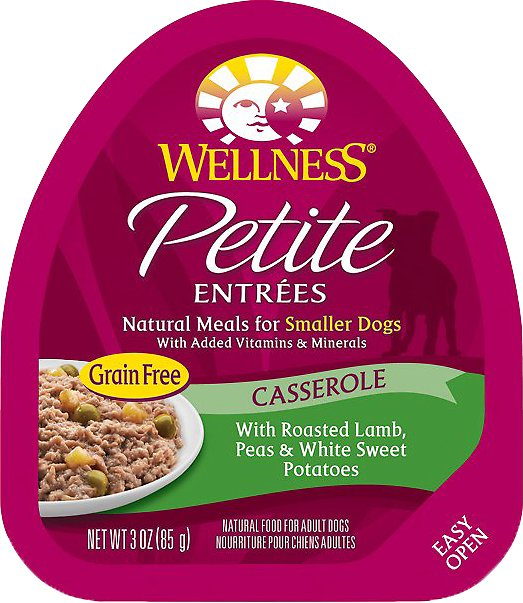 Wellness Petite Entrees Casserole with Roasted Lamb, Peas & White Sweet Potatoes Grain-Free Wet Dog Food, 3-oz
