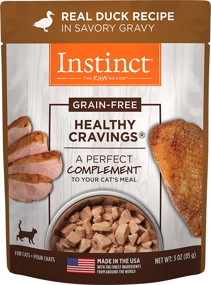Instinct by Nature's Variety Healthy Cravings Grain-Free Real Duck Recipe Wet Cat Food Topper, 3-oz pouch