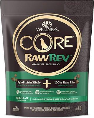 Wellness CORE RawRev Natural Grain Free Wild Game Duck, Lamb, Wild Boar & Rabbit with Freeze Dried Lamb Dry Dog Food