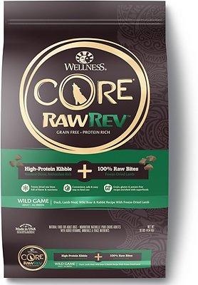 Wellness CORE RawRev Natural Grain-Free Wild Game Duck, Lamb, Wild Boar & Rabbit with Freeze Dried Lamb Dry Dog Food, 10-lb bag