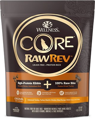 Wellness CORE RawRev Natural Grain-Free Original Turkey & Chicken with Freeze Dried Turkey Dry Dog Food, 4-lb bag