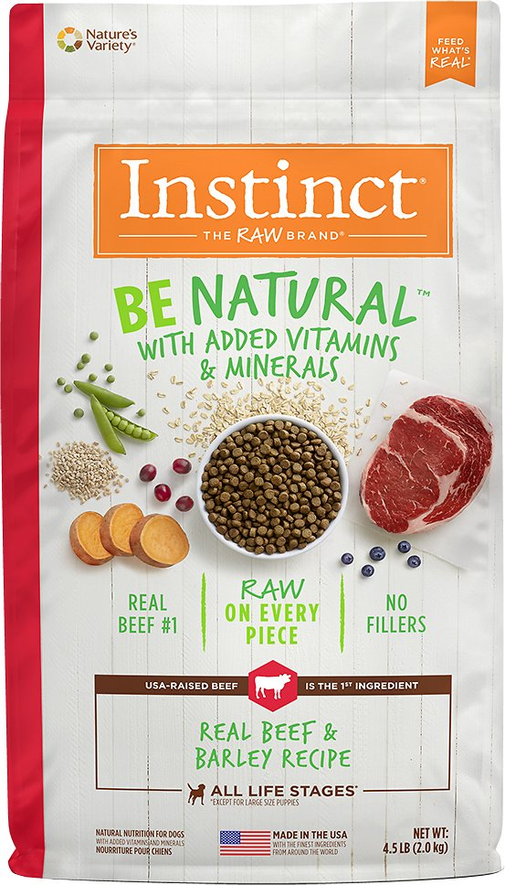 Instinct by Nature's Variety Be Natural Real Beef & Barley Recipe Dry Dog Food, 4.5-lb bag