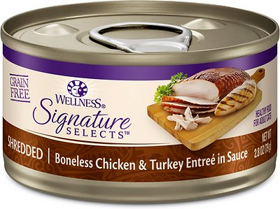 Wellness CORE Signature Selects Shredded Boneless Chicken & Turkey Entree in Sauce Grain-Free Canned Cat Food