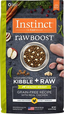 Instinct by Nature's Variety Raw Boost Healthy Weight Grain-Free Chicken Recipe Dry Dog Food, 4-lb bag