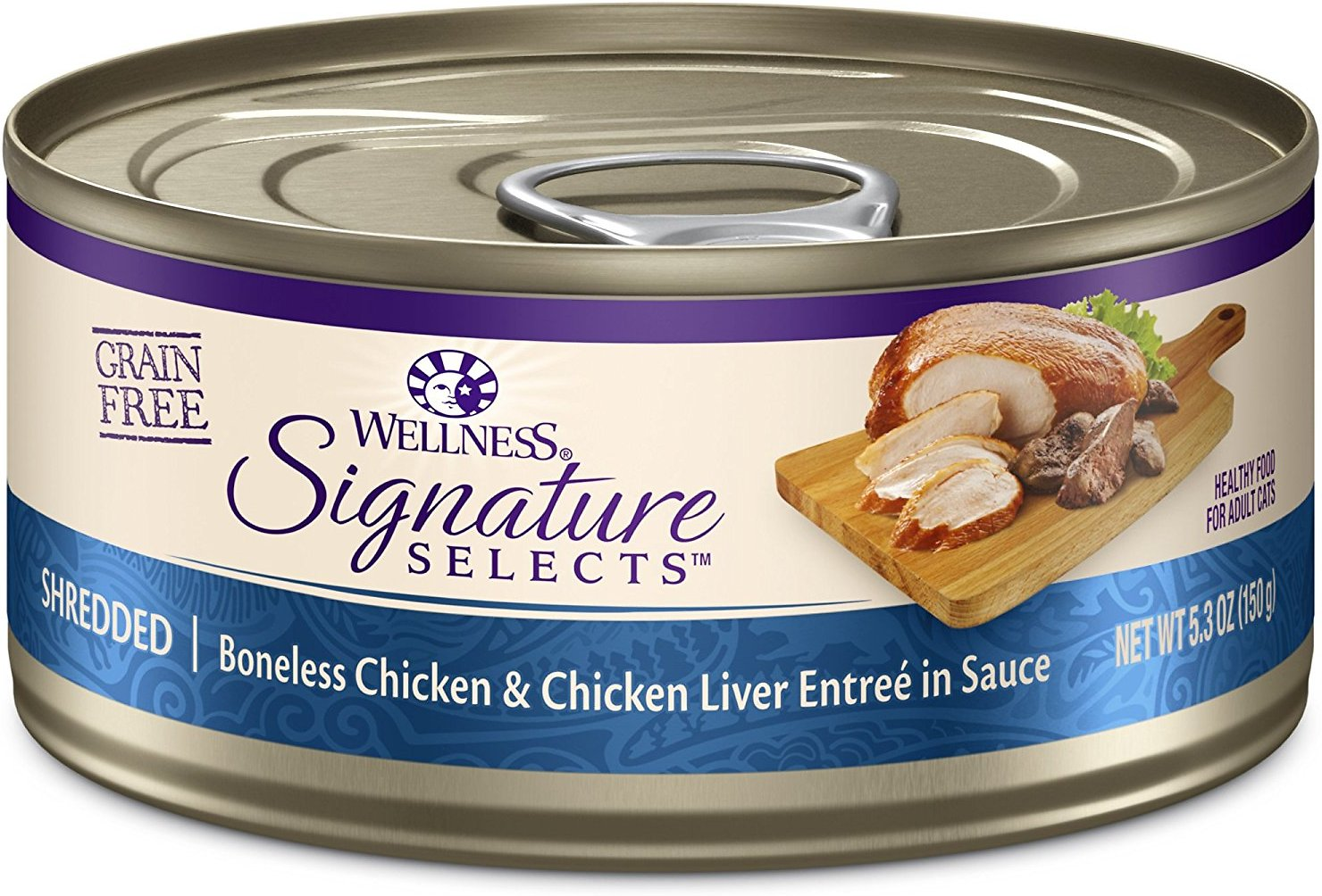 Wellness CORE Signature Selects Shredded Boneless Chicken & Chicken Liver Entree in Sauce Grain-Free Canned Cat Food, 2.8-oz