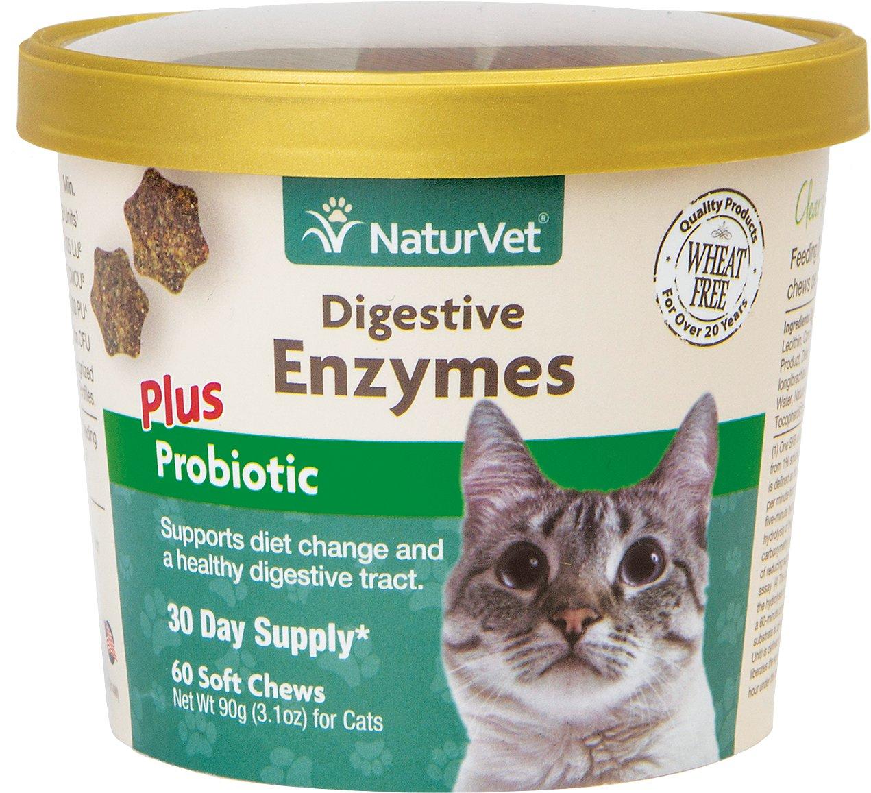NaturVet Digestive Enzymes Plus Probiotics Cat Soft Chews, 60-count