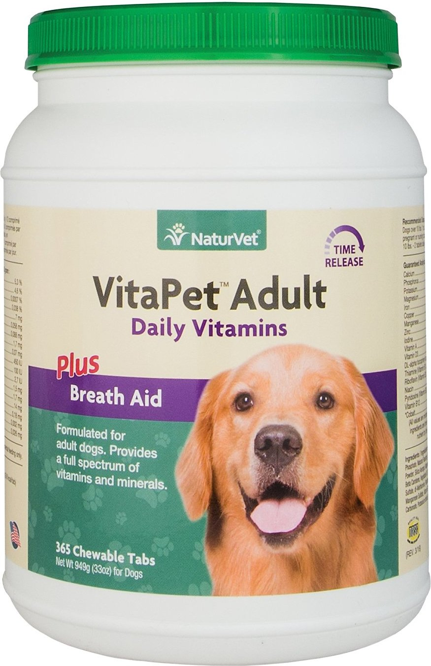 NaturVet VitaPet Adult Daily Vitamins Plus Breath Aid Chewable Dog Tablets