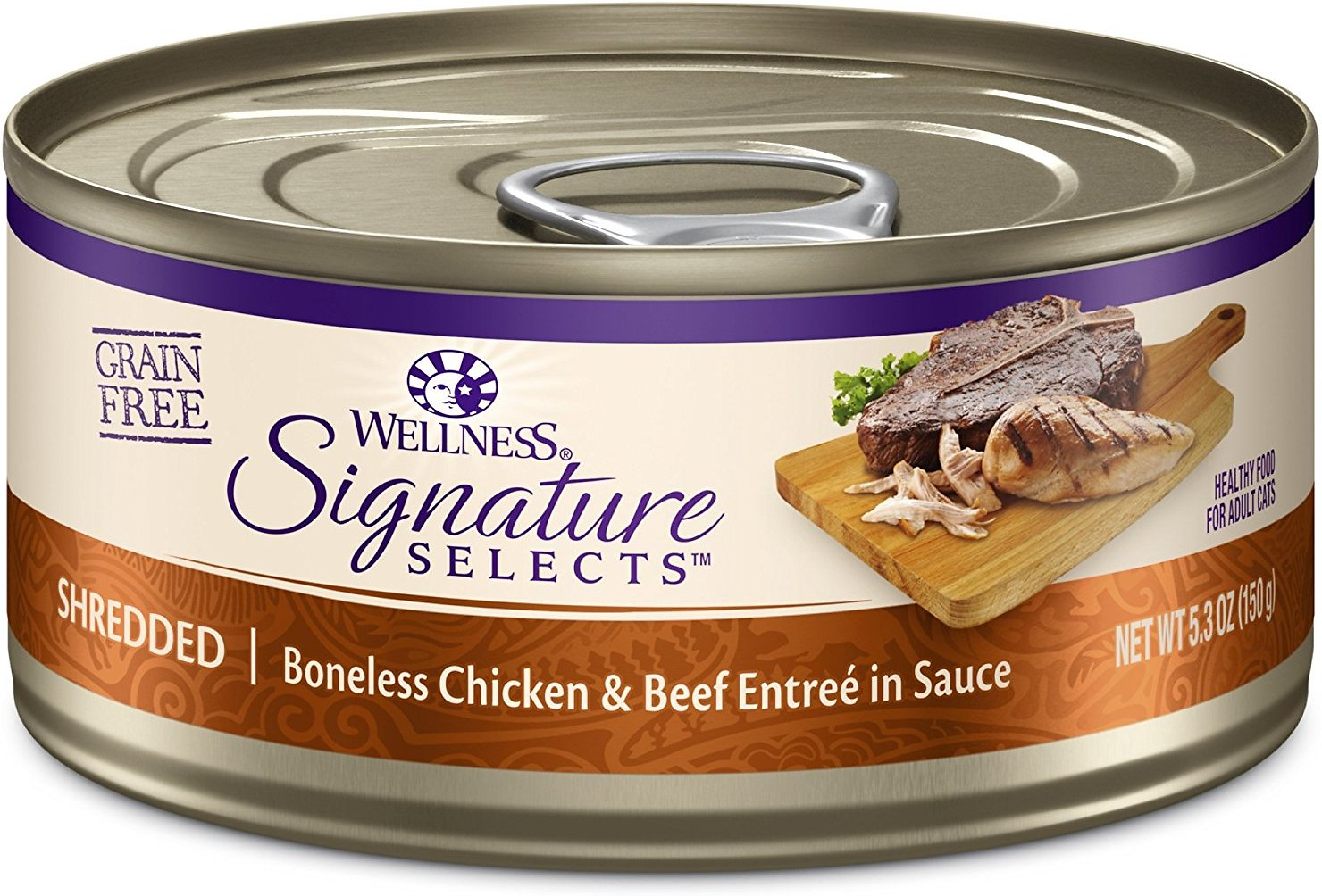 Wellness CORE Signature Selects Shredded Boneless Chicken & Beef Entree in Sauce Grain-Free Canned Cat Food, 2.8-oz