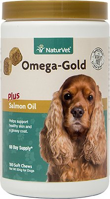 NaturVet Omega Gold Plus Salmon Oil Soft Chews for Dogs, 180-count