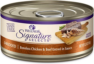Wellness CORE Signature Selects Shredded Boneless Chicken & Beef Entree in Sauce Grain-Free Canned Cat Food