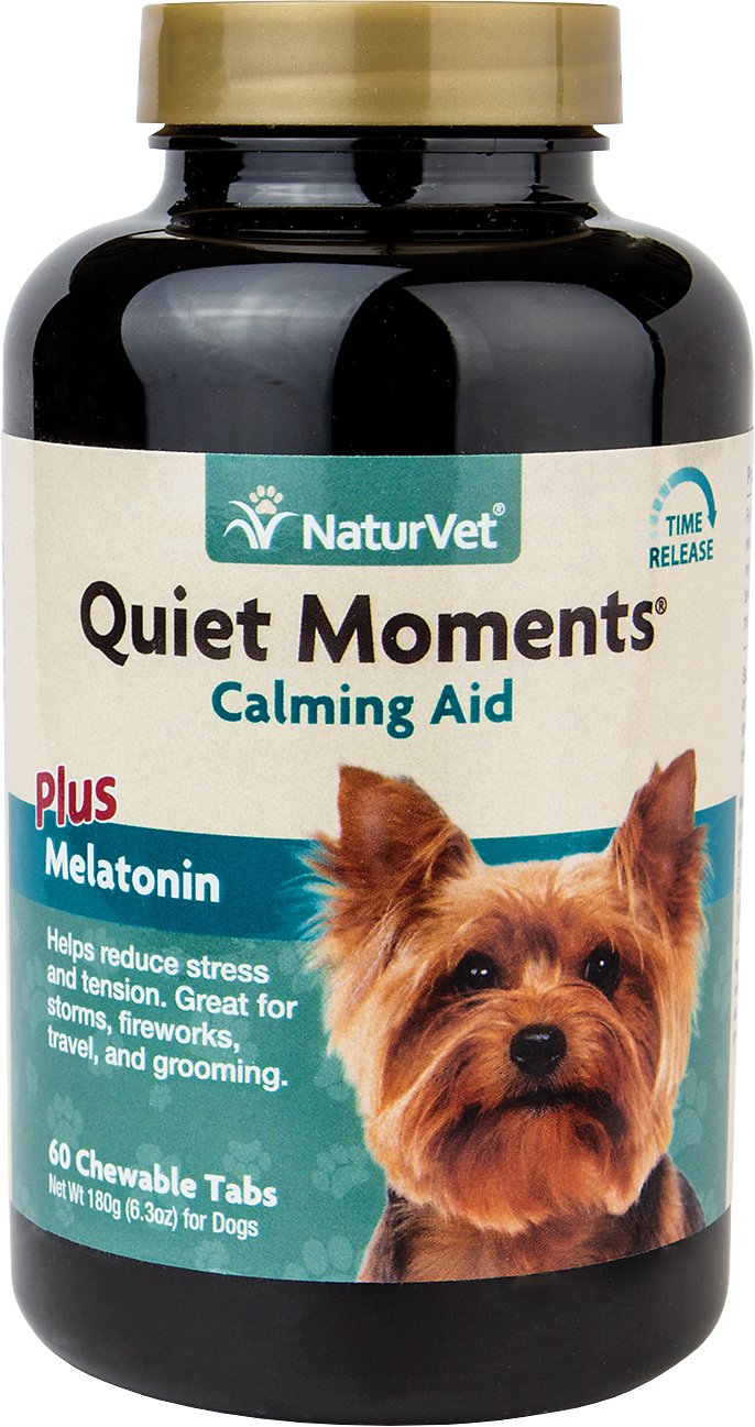 NaturVet Quiet Moments Calming Aid Plus Melatonin Dog Tablets