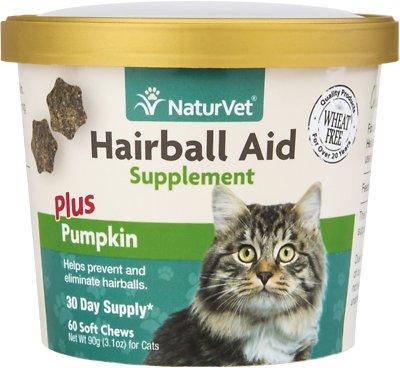 NaturVet Hairball Aid Supplement Plus Pumpkin Cat Soft Chews, 60-count
