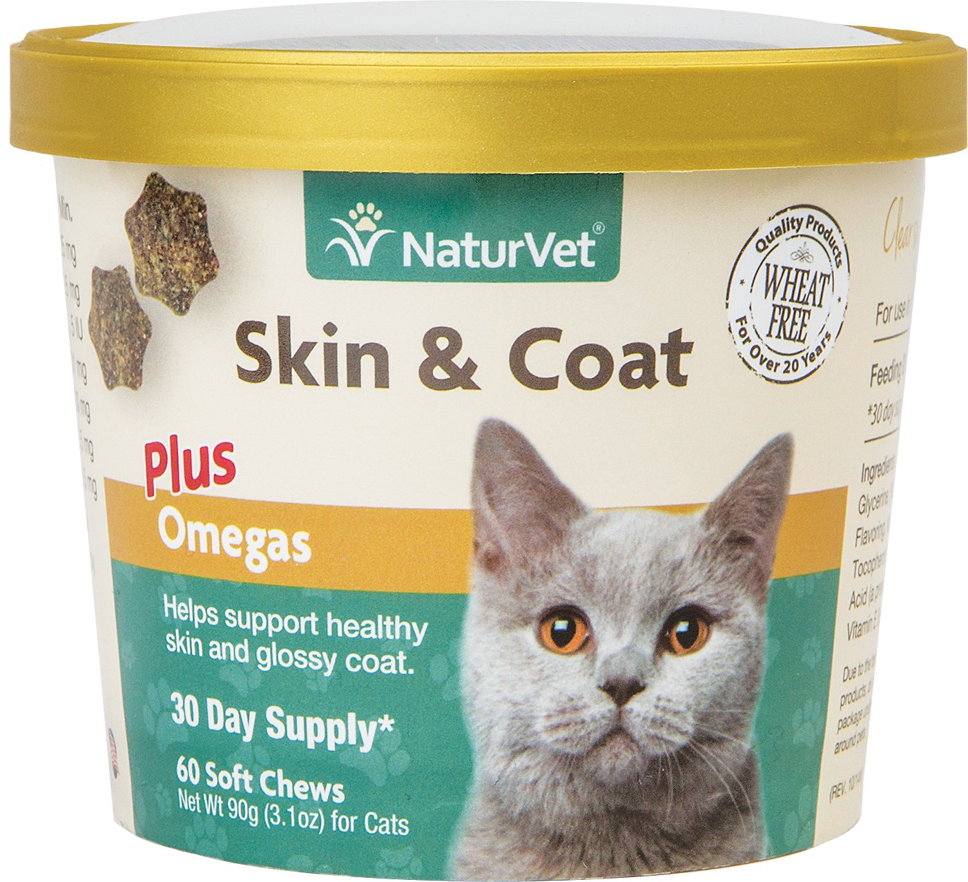 NaturVet Skin & Coat Plus Omegas Cat Soft Chews, 60-count