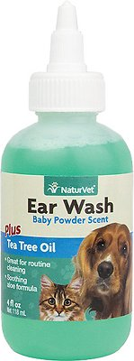 NaturVet Ear Wash with Tea Tree Oil for Dogs & Cats, 4-oz bottle