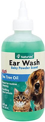 NaturVet Ear Wash with Tea Tree Oil for Dogs & Cats, 8-oz bottle