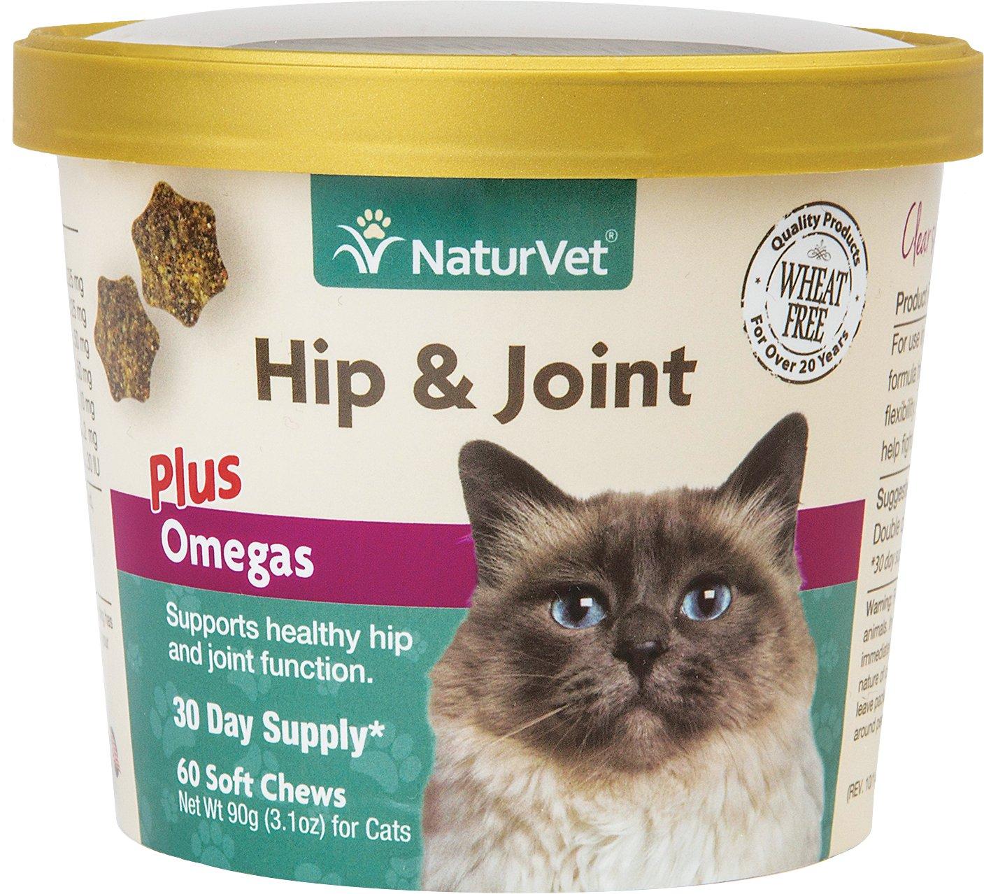 NaturVet Hip & Joint Plus Omegas Cat Soft Chews, 60-count