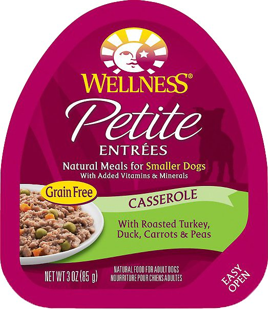 Wellness Petite Entrees Casserole with Roasted Turkey, Duck, Carrots & Peas Grain-Free Wet Dog Food, 3-oz