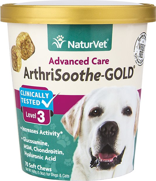 NaturVet ArthriSoothe Gold Level 3 Soft Chews for Dogs, 70-count