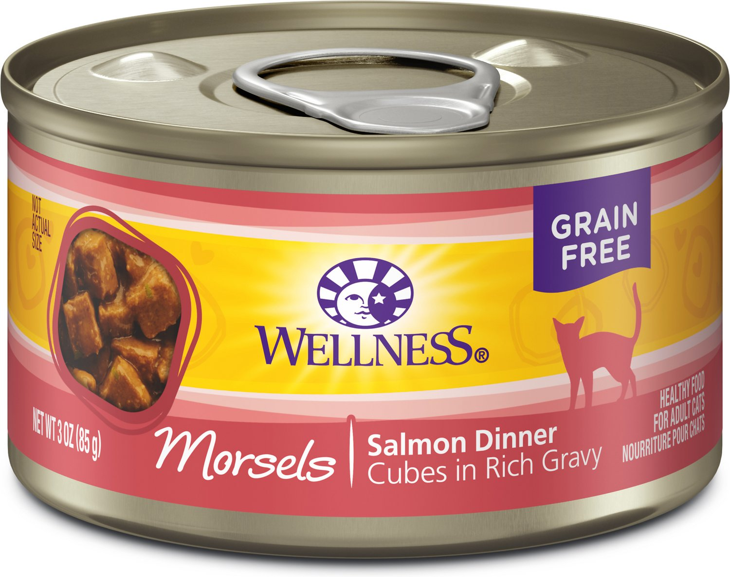 Wellness Cubed Salmon Dinner Morsels in Gravy Grain-Free Canned Cat Food, 3-oz