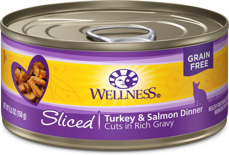 Wellness Sliced Turkey & Salmon Dinner Grain-Free Canned Cat Food, 5.5-oz