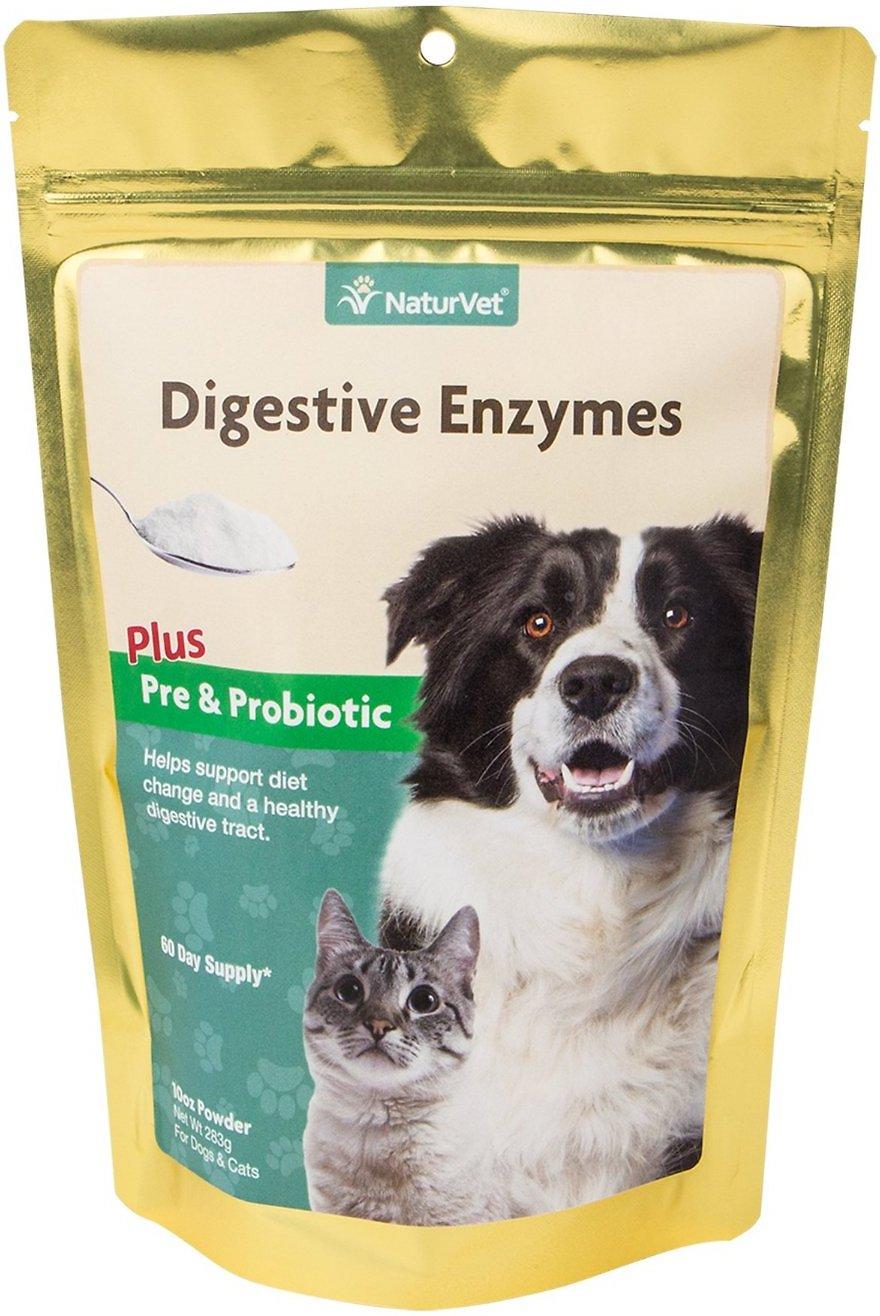 NaturVet Digestive Enzymes Pre & Probiotic Plus Powder Dog Supplement, 10-oz