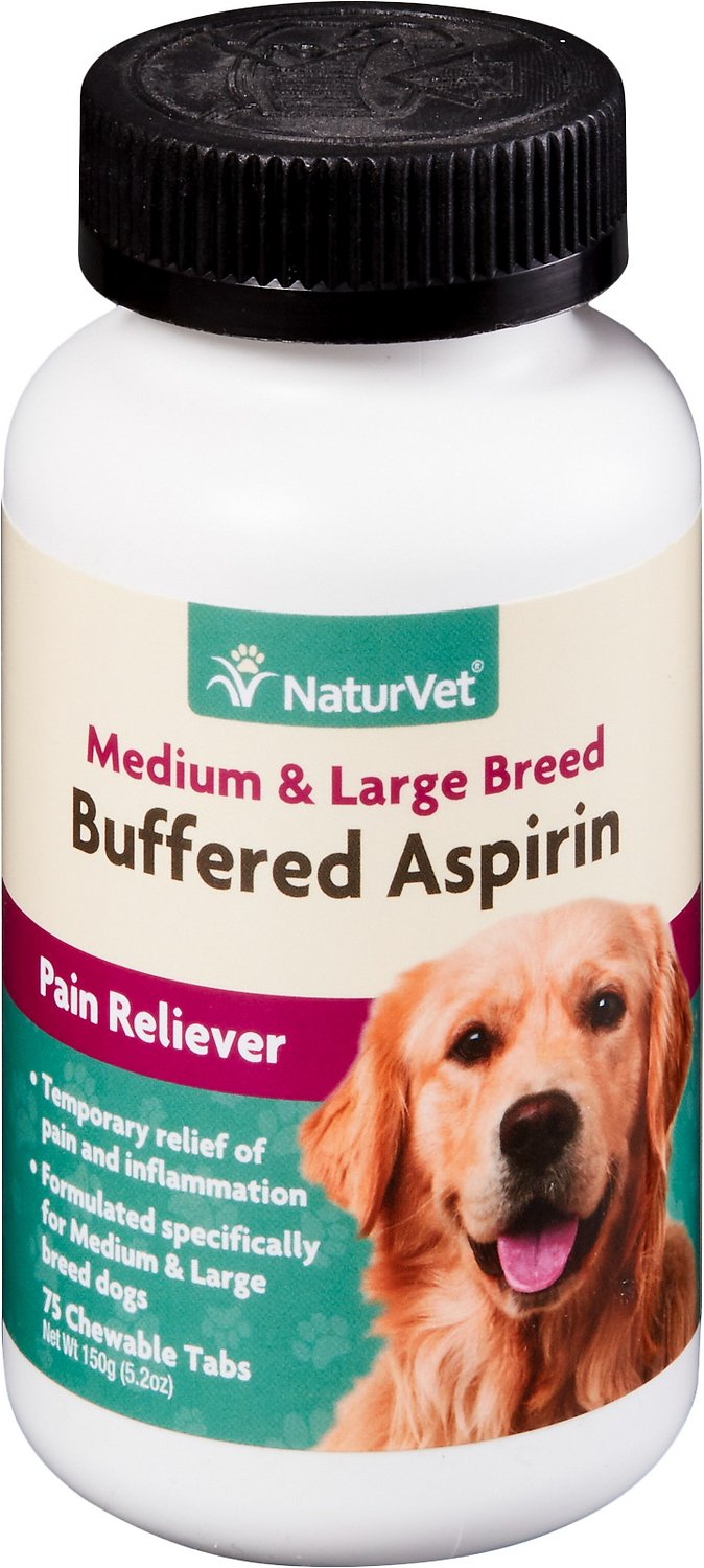 NaturVet Buffered Aspirin Pain Reliever for Medium & Large Breed Dog Supplement, 75-count