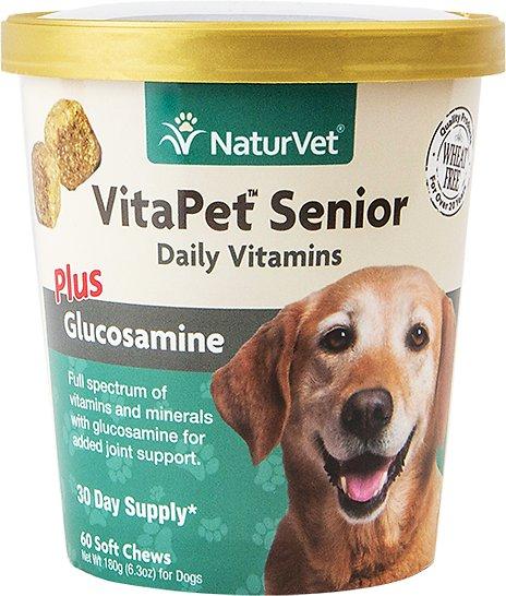NaturVet VitaPet Senior Daily Vitamins Plus Glucosamine Soft Chews for Dogs, 60-count