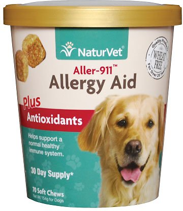 NaturVet Aller 911 Allergy Aid + Antioxidants Dog Soft Chews, 70 count