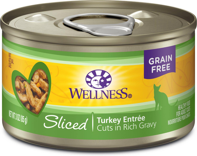 Wellness Sliced Turkey Entree Grain-Free Canned Cat Food, 3-oz