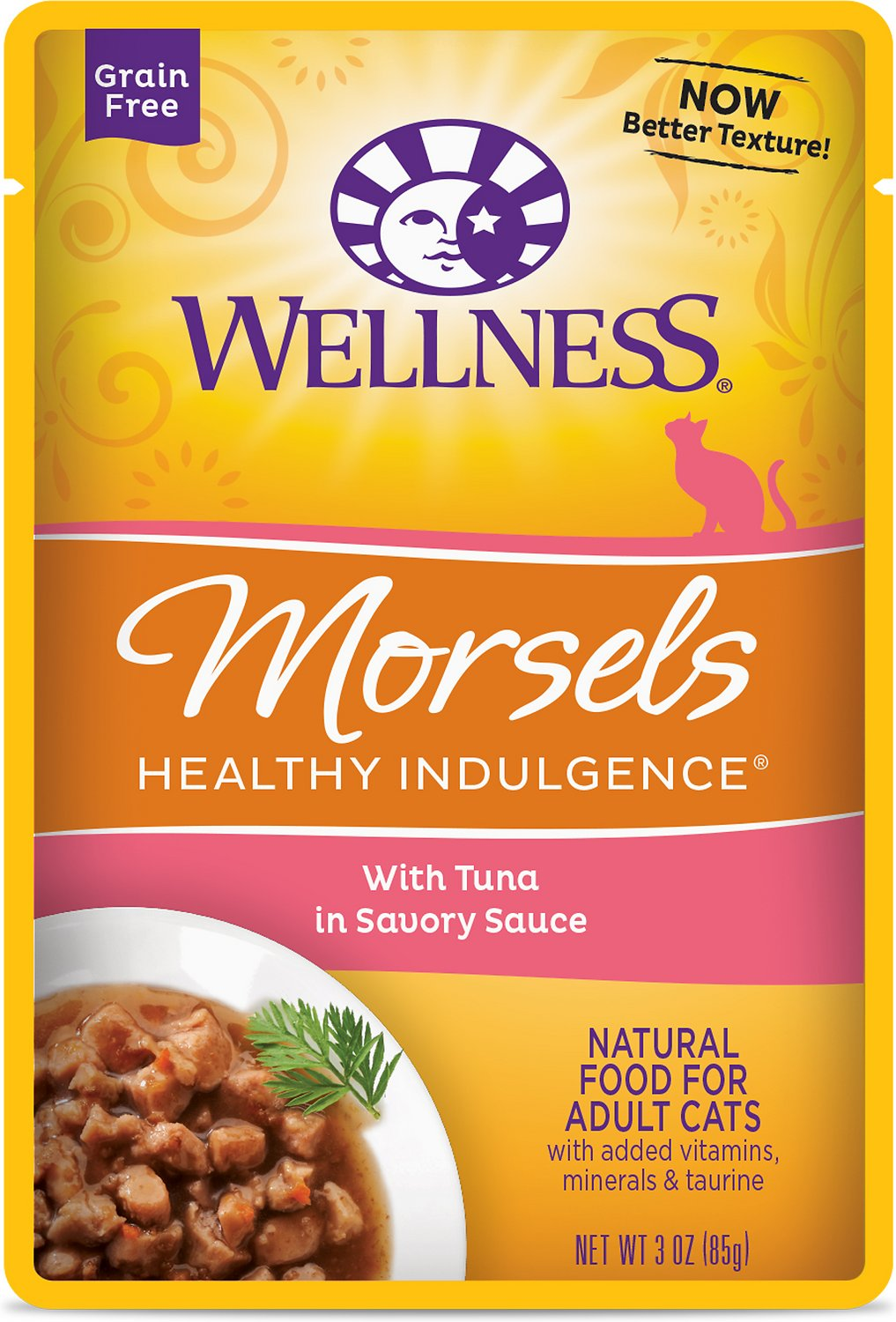 Wellness Healthy Indulgence Morsels with Tuna in Savory Sauce Grain-Free Wet Cat Food Pouches, 3-oz