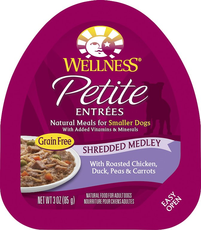 Wellness Petite Entrees Shredded Medley with Roasted Chicken, Duck, Peas & Carrots Grain-Free Wet Dog Food, 3-oz, case of 24