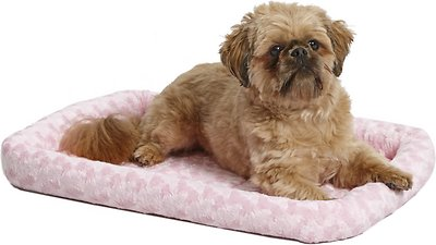 MidWest Quiet Time Fashion Pet Bed & Crate Mat, Pink, 24-in
