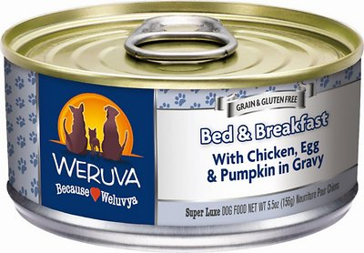 Weruva Dog Classic Bed & Breakfast with Chicken, Egg, & Pumpkin in Gravy Grain-Free Wet Dog Food, 5.5-oz, case of 24