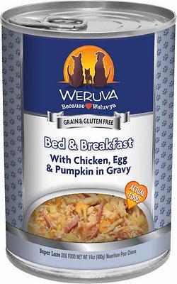 Weruva Dog Classic Bed & Breakfast with Chicken, Egg, & Pumpkin in Gravy Grain-Free Wet Dog Food, 14-oz, case of 12