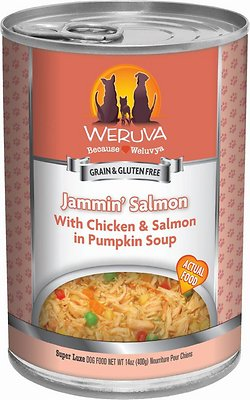 Weruva Dog Classic Jammin' Salmon with Chicken & Salmon in Pumpkin Soup Grain-Free Wet Dog Food, 14-oz, case of 12