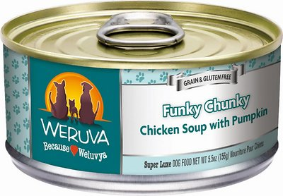 Weruva Dog Classic Funky Chunky Chicken Soup with Pumpkin Grain-Free Wet Dog Food, 5.5-oz, case of 24