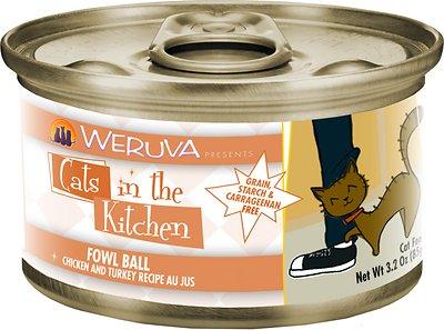 Weruva Cats in the Kitchen Fowl Ball Chicken & Turkey Au Jus Grain-Free Wet Cat Food, 3.2-oz, case of 24