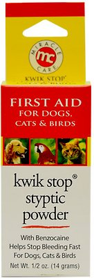 Miracle Care Kwik-Stop Styptic Powder for Dogs, Cats & Birds, .5-oz jar