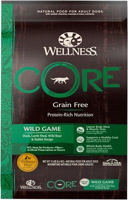Wellness CORE Grain-Free Wild Game Duck, Turkey, Boar & Rabbit Recipe Dry Dog Food, 12-lb bag