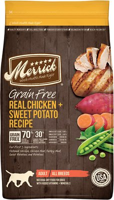Merrick Grain-Free Real Chicken + Sweet Potato Recipe Dry Dog Food, 12-lb bag (original)