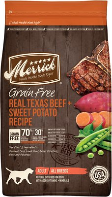 Merrick Grain-Free Real Texas Beef + Sweet Potato Recipe Dry Dog Food, 4-lb bag (original)