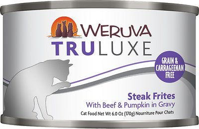 Weruva Cat Truluxe Steak Frites with Beef & Pumpkin in Gravy Grain-Free Wet Cat Food, 6-oz, case of 24