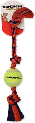 Mammoth Color 3 Knot Rope Tug with Tennis Ball for Dogs, Color Varies