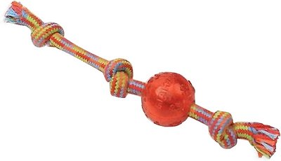 Mammoth Braided Tug with TPR Ball for Dogs, Color Varies